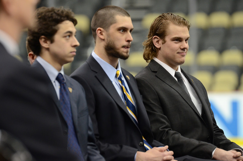 Hobey Baker Award finalists, including Drew LeBlanc, await the results.