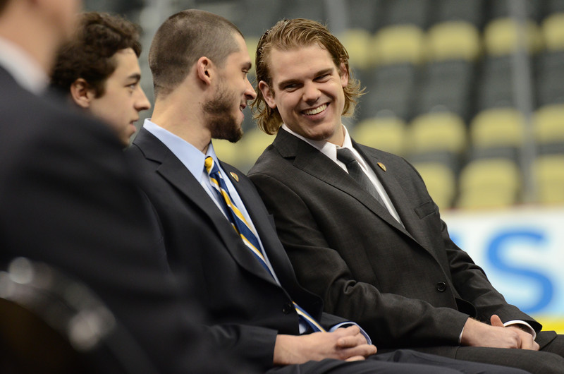 Drew LeBlanc jokes with other Hobey Baker Award finalists.
