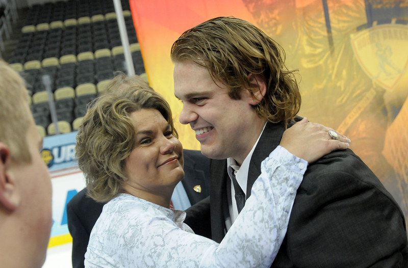 Drew LeBlanc and his mother.